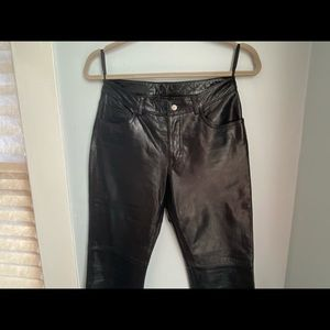 Express genuine leather bootcut pants with raw hem